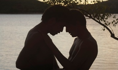 Silhouette of two men embracing in Stranger By the Lake