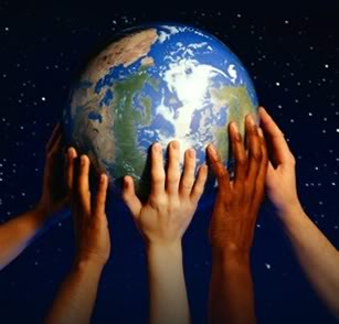 image of globe being held up by many different hands