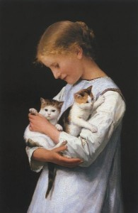 Albert-Anker-Girl-Holding-Two-Cats